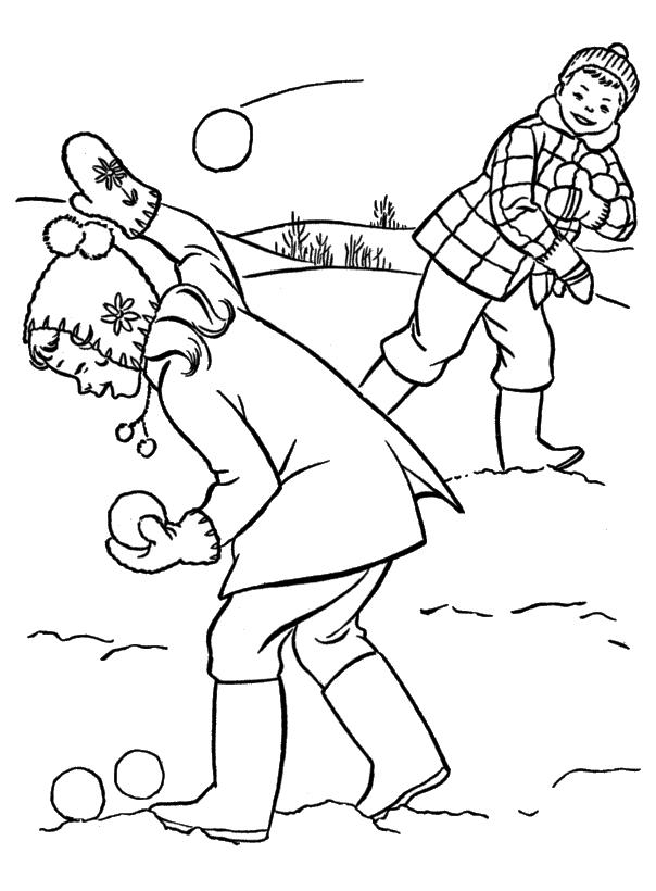 Bitwa na śnieżki Kolorowanki Zima