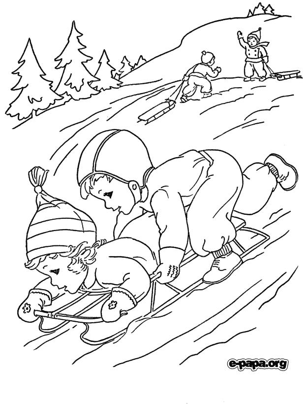 zimowe zabawy Kolorowanki Zima