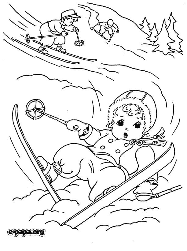 Na nartach Kolorowanki Zima