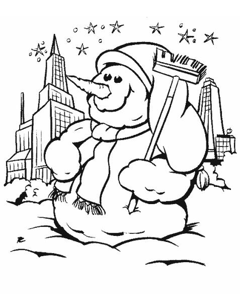 Kolorowanki Dla Dzieci Bałwan śniegowy