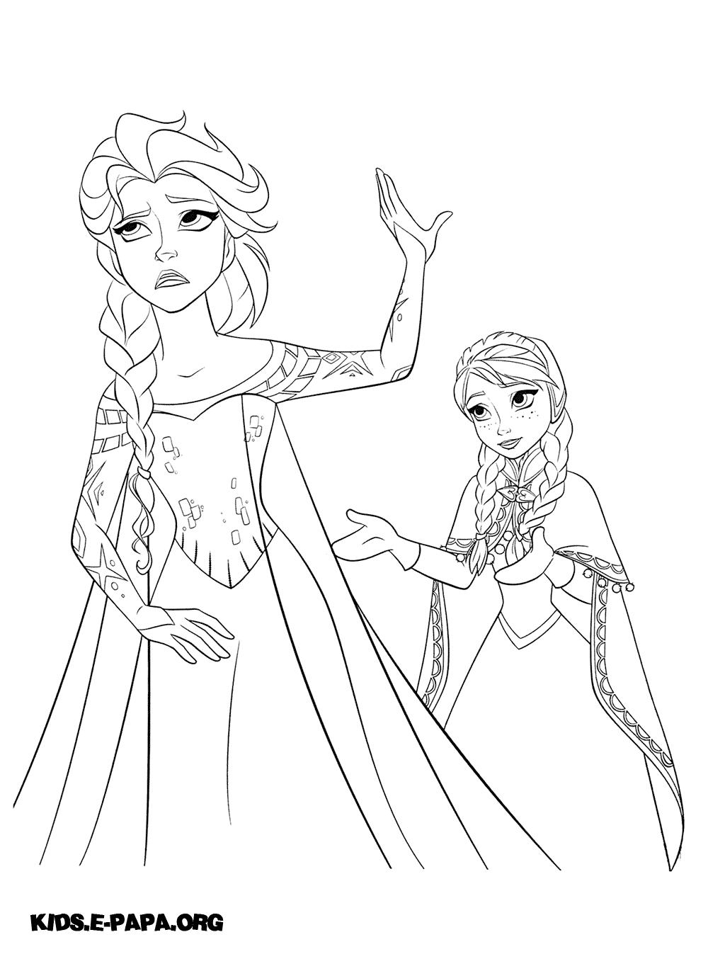 Kolorowanki Dla Dzieci Elsa I Anna