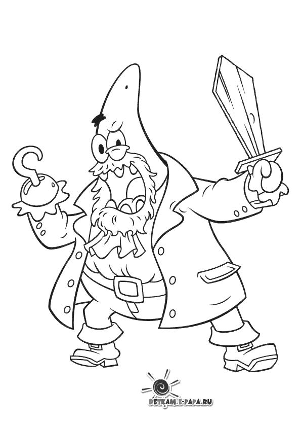 Patryk - Pirat Kolorowanki SpongeBob Kanciastoporty